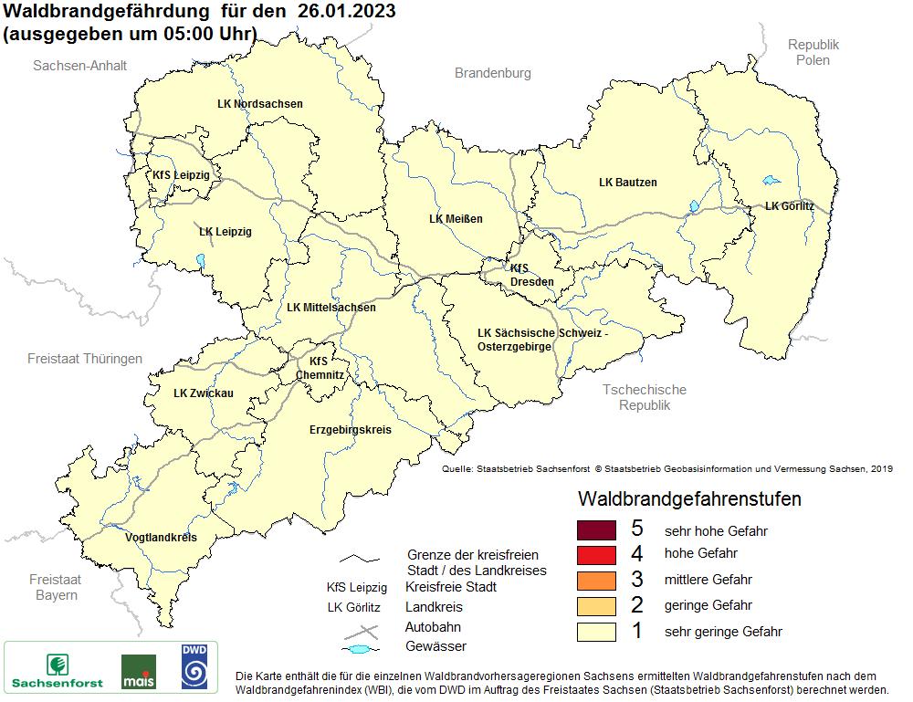 Aktuelle Waldbrandwarnstufen für Sachsen