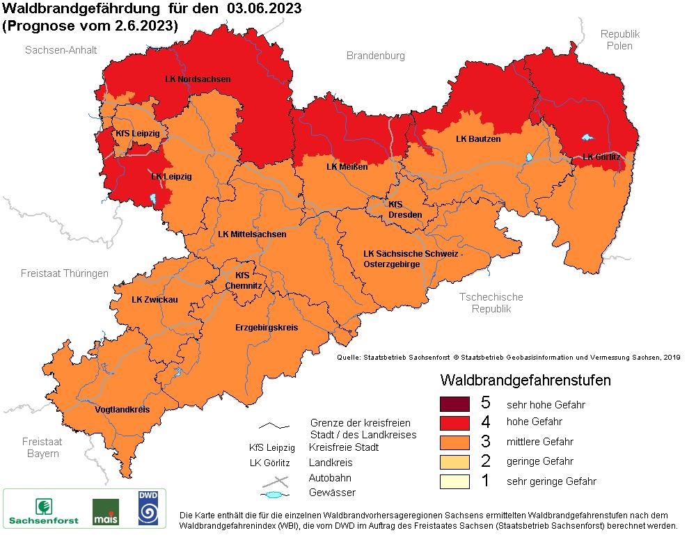 Waldbrandgefahrenstufen in Sachsen