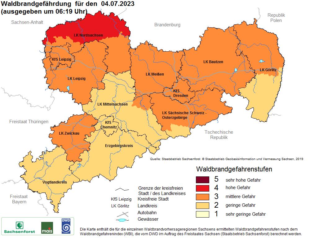 Karte Waldbrandgefärdung