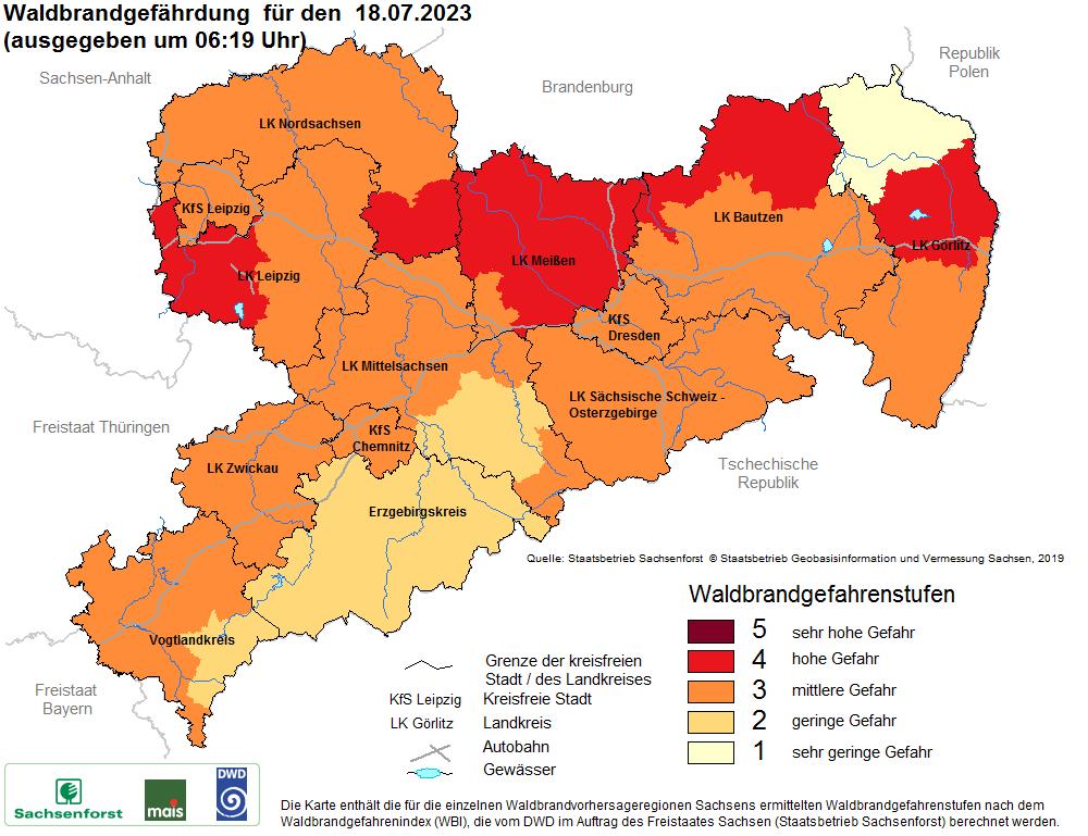 Karte Waldbrandgefährdung